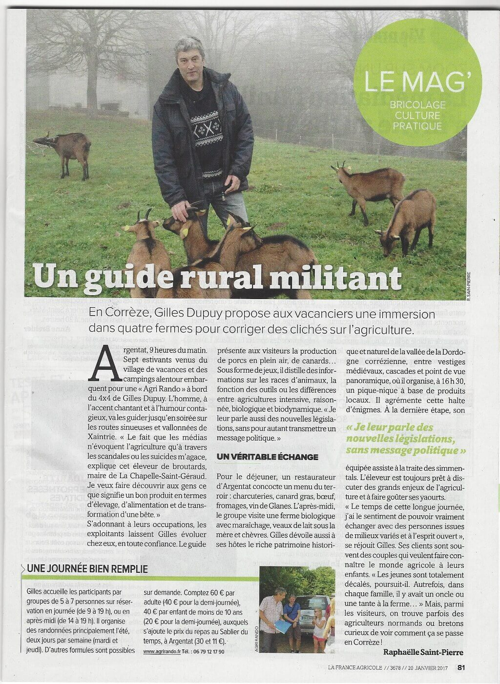 "Press article: Agri Rando in ""France Agricole"""