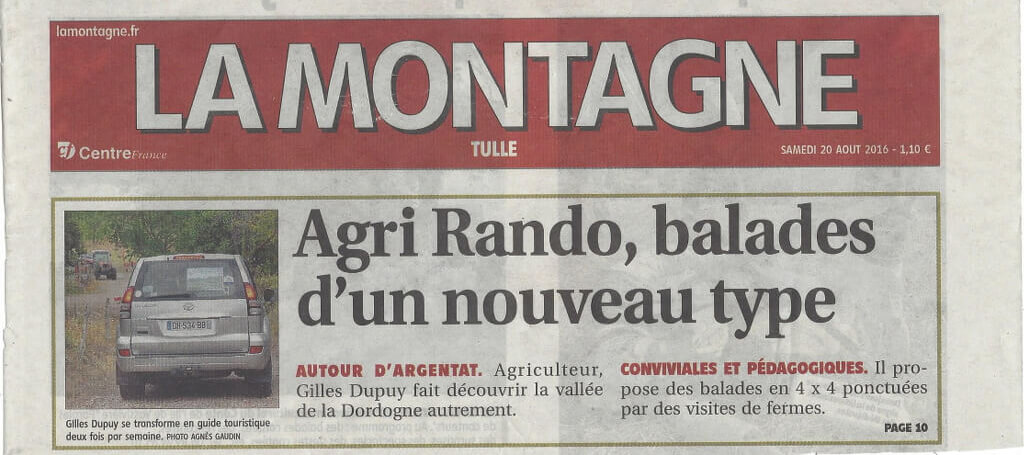 "Press article: Agri Rando in ""La Montagne"""
